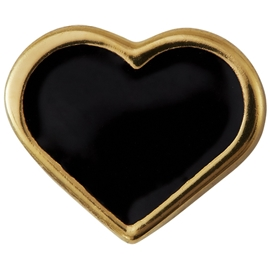 Design Letters Enamel Heart Charm Gold Black