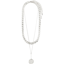 10211-6001 Compass Double Silver Plated Necklace